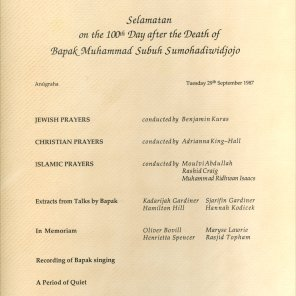 Anugraha Tribute to Bapak - programme for the 100th day after his death