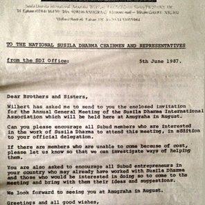 AGM Letter regarding the Susila Dharma International, held at Anugraha