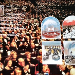 Inside of brochure showing Anugraha filled with people, and displaying its suitability as a conference centre