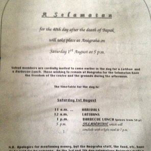 Anugraha Tribute to Bapak - programme for the 40th day after his death