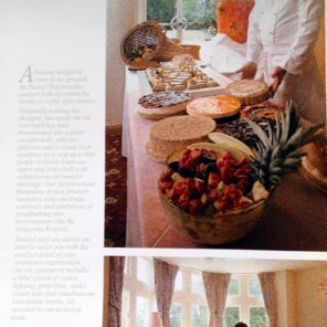 Inside of brochure showing Anugraha's catering capability and a guest room