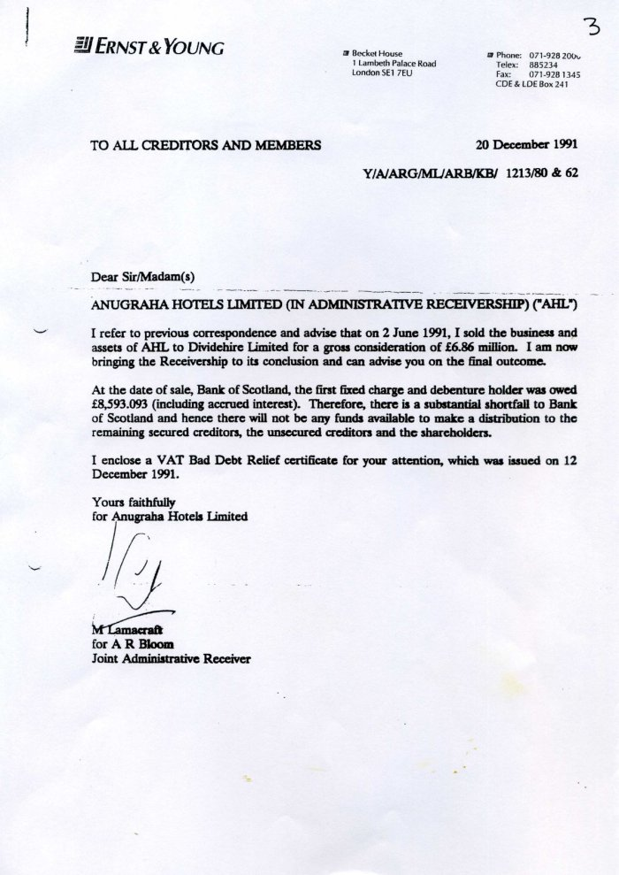 Letter about Anugraha being sold