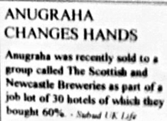Small announcement in Subud UK Life about Anugraha being sold.