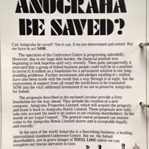 Can Anugraha be Saved - magazine article appealing to Subud Shareholders