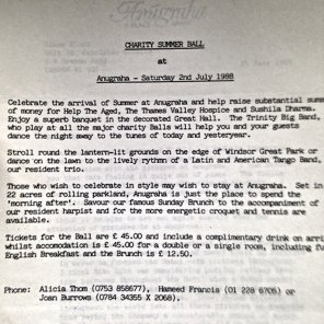Information about a Charity Ball held at Anugraha - dated 2nd July 1988