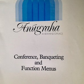 Front cover of the function menus at Anugraha