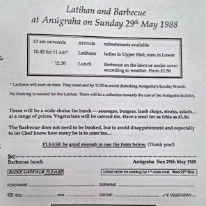 Programme showing Regular Latihans at Anugraha - Subud's International Centre in the UK