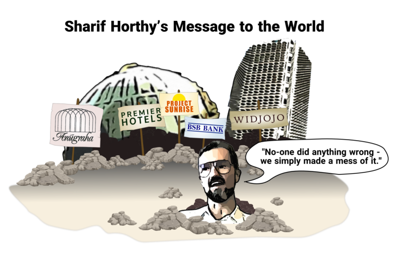 Sharif Horthy cartoon - up to his neck in rubble with Anugraha, Premier Hotels, Project Sunrise, BSB bank and Widjojo crumbling in the background.