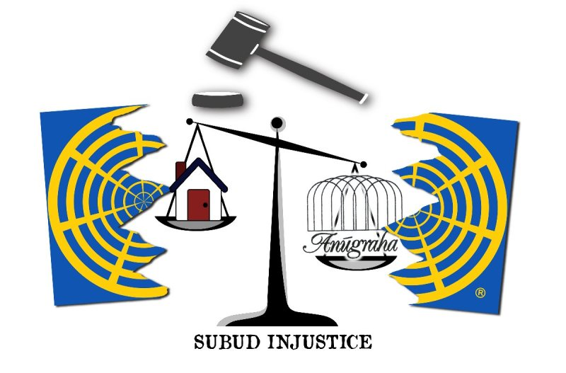 Subud logo broken in two with gavel and scales of injustice weighing up Anugraha against a home